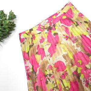 LOFT Floral Midi Pleated Skirt Sz XS S 2 Pink